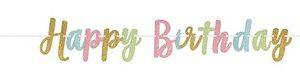 Festone happy birthday in cartoncino glitterato colori pastello misure 3,65m