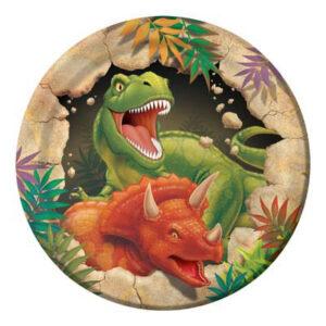 Piatto cm 18 tema dinosauri pz8