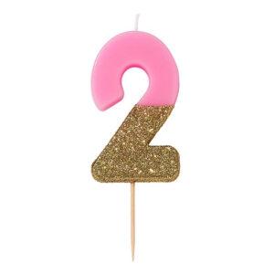 Candele rosa doppia sfumatura con glitter oro