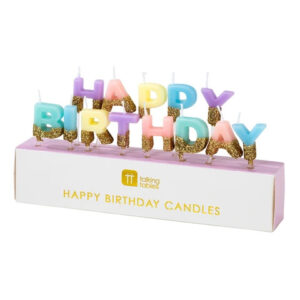 Candele happy birthday colori pastello