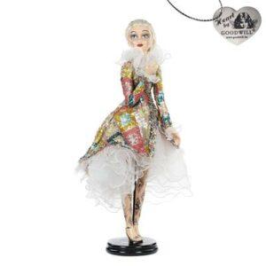 Bambola porcellana h 66 cm con piedistallo