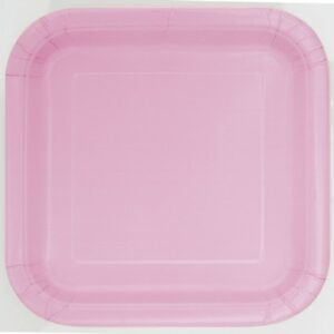 Piatti quadrati carta rosa cm 18