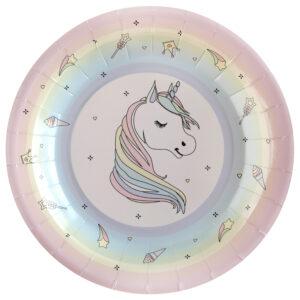 Piatti carta unicorno pink