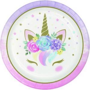 Piatti unicorno baby cm 23