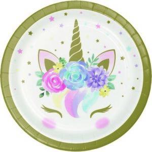 Piatti unicorno baby cm 18