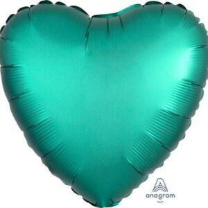 Palloncino a forma di cuore satinato verde cm 42