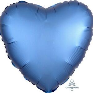 Palloncino a forma di cuore satinato blu cm 42