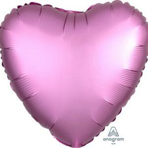 Palloncino a forma di cuore satinato rosa cm 42