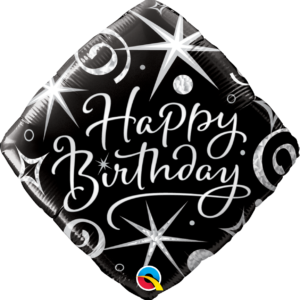Palloncino foil happy birthday nero