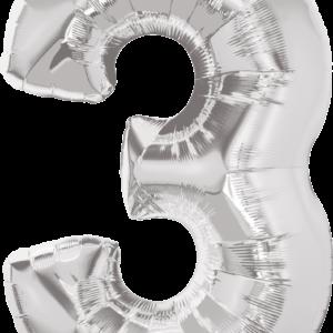 Palloncino numero 3 argento .Cm 86