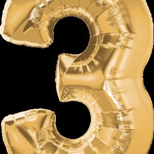 Palloncino numero 3 oro. Cm 86