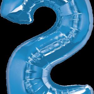 Palloncino numero 2 blu. Cm 86