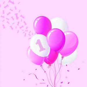 Tovaglioli carta primo compleanno tema palloncini bimba