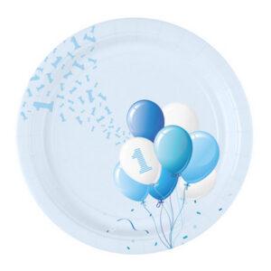 Piatto grande primo compleanno tema palloncini. Azzurro boy