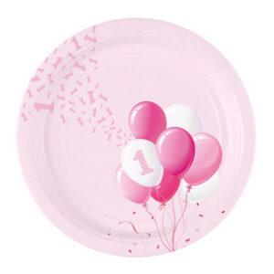Piatto grande primo compleanno tema palloncini. Rosa bimba.