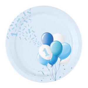 Piatto piccolo primo compleanno tema palloncini. Boy azzurro