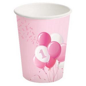 Bicchieri carta primo compleanno tema palloncini girl