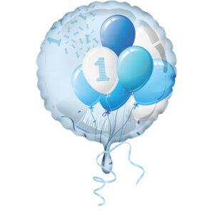 Palloncino foil primo compleanno tema palloncini. azzurro boy