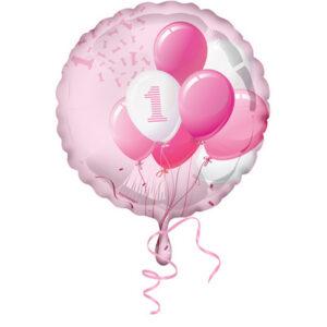 Palloncino foil primo compleanno tema palloncini. Rosa bimba